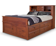 Simplicity Queen Captain's Bed w/ Bookcase Headboard and Standard Footboard Image