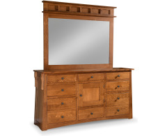 Arts & Crafts 8-Drawer 1-Door Triple Dresser with Tall Wide Mirror Image