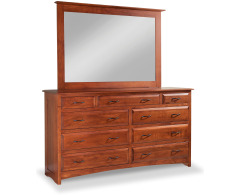 Simplicity 9-Drawer Double Dresser with Tall Wide Mirror Image