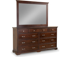 Elegance 9-Drawer Double Dresser with Tall Wide Mirror Image