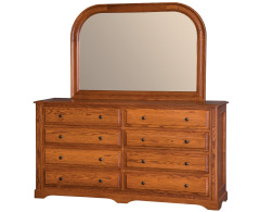 Victorian 8-Drawer Double Dresser w/ Tall Wide Mirror Image