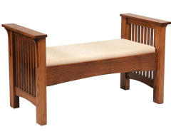 Mission Footboard Storage Bench with Fabric Seat Image