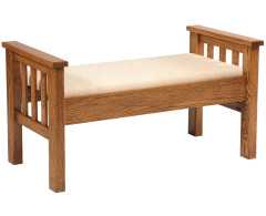 Wide Slat Footboard Storage Bench with Fabric Seat Image