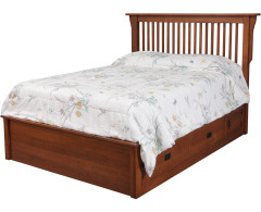 Mission Queen Pedestal Bed w/ 60 Wide Drawers Image