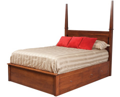 Modern Queen Pencil Post Pedestal Bed w/ 60 Wide Drawers Image