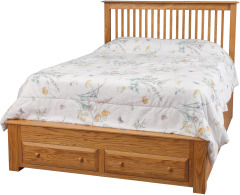Simplicity Queen Pedestal Bed w/ 2 Drawers on End Image