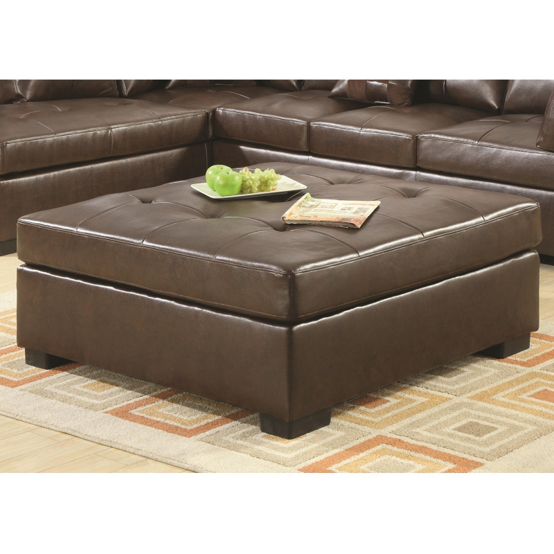 Darie Leather Tail Ottoman With Wood Feet